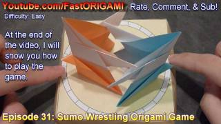 How To Make Origami Sumo Wrestler Wrestling Game おすもうさん紙折り方 Luchadores De Sumo
