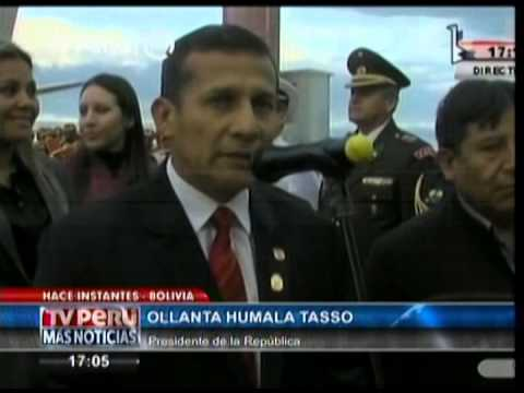 Saludo del Presidente Humala en su arribo a Bolivia
