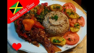 LETS COOK SUNDAY DINNER HOW TO COOK JAMAICAN  BROWN STEW FISH WITH RICE AND PEAS