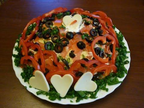 Салат Шепот купидона. Слоеный салат с курицей. Романтический ужин для любимого.