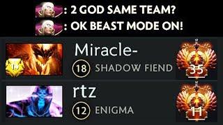 9000 MMR Invoker God Deleted 20 000 MMR Miracle + RTZ Stack Dota 2 Gameplay
