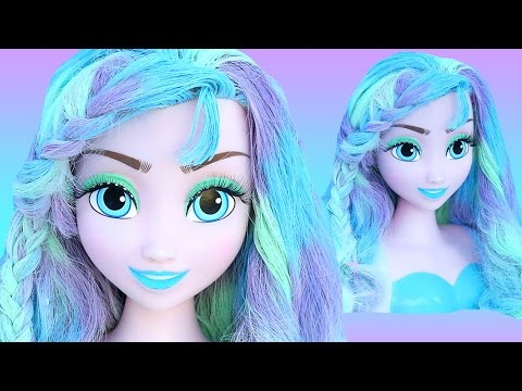 FROZEN ELSA PASTEL HAIR COLOR Makeover How To Princess Paint Braid Styling Head Glitter Butterfly