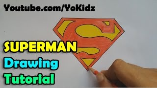 How to draw Superman Symbol or Logo for kids - Easy and simple