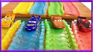 Learn Colors with Disney Cars Mcqueen and Bob the Builder Racing and Jumping Toys Adventure