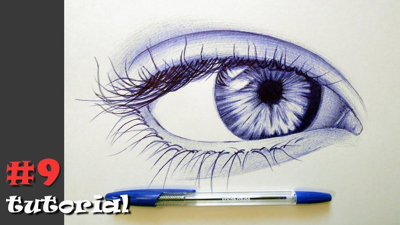 Рисунки глаз поэтапно ручкой
