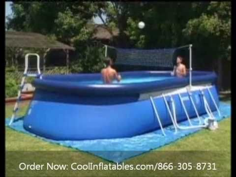 Intex oval ellipse frame pool setup instructions youtube for Swimming pool set angebot