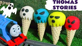 Thomas & Friends ghostly surprise Play Doh and Ice Cream Colors with superheroes & Cars McQueen TT4U
