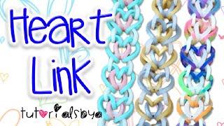 NEW Heart Link Rainbow Loom Bracelet Tutorial   How To