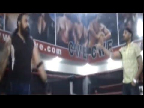 Watch How Bhajji Knocked Out Wrestler, The Great Khali Meets Harbhajan Singh