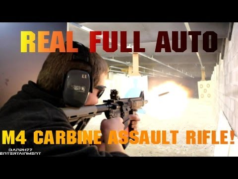 M4 Carbine Assault Rifle Shooting FULL AUTO   H&K USP [1080 HD]