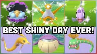 BEST SHINY DAY EVER IN POKEMON GO | SHINY LATIAS FEEBAS CLAMPERL GOREBYSS HUNTAIL & MORE!