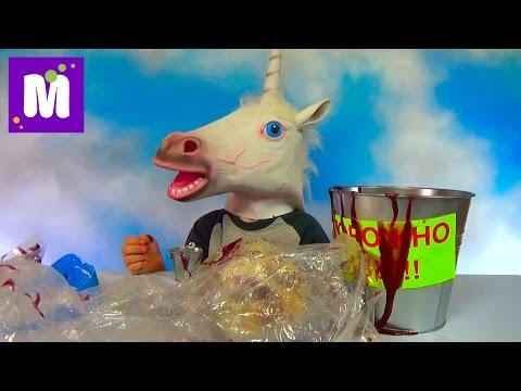 Ведро со слизью и первоапрельскими приколами игрушками конь единорог