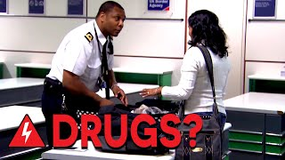 Board Agents Search For Hidden Drugs at Gatwick Airport | Customs