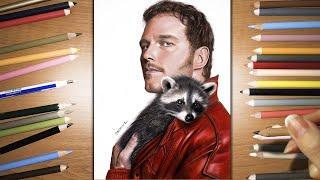 Speed Drawing: Chris Pratt as Star-Lord hugging a baby raccoon | Jasmina Susak