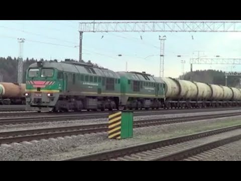 Twin Section Lithuanian Locomotive Hauling Long Goods Train