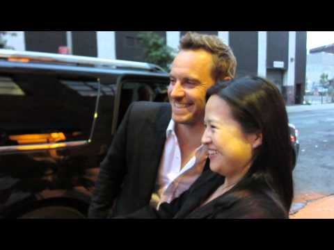 Michael Fassbender greets fans while promoting Steve McQueen' 12 Years of A Slave