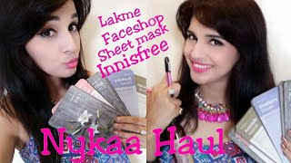 Nykaa Haul | Face Shop Sheet Mask 5 + 5 Free Offer | Innisfree | Lakme Lip Crayon |
