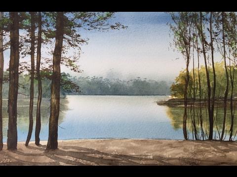 Рисуем Озеро, Сосны, дальний, средний планы. Акварель.Pine Trees in watercolour