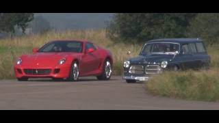 Volvo Amazon vs Ferrari 599 GTB F1 Interior + exterior race