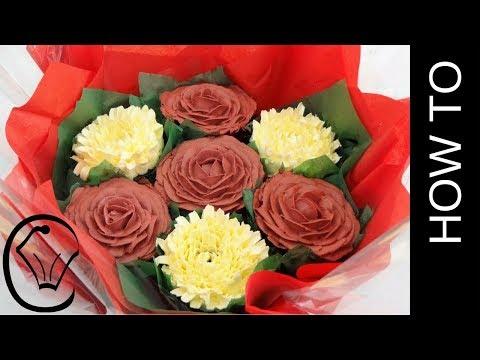 Hidden CHOCOLATES! Valentine Buttercream Flower Bouquet by Cupcake Savvy's Kitchen