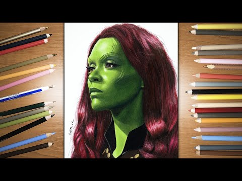 Speed Drawing: Gamora from Guardians of the Galaxy movie | Jasmina Susak