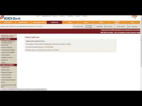 Icici Instant Virtual Credit Card Generation Online video