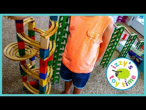 MARBLE RACE TOY TRAINS EDITION! TALLEST RAMP EVER?! Dad and Son Pretend Play
