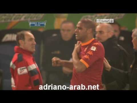 Adriano Injury Roma 2-1 Lazio Coppa Italia 19/1/2011