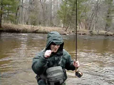 Chrome Steelhead Fly Fishing Pere Marquette Michigan Spring Steelhead fishing
