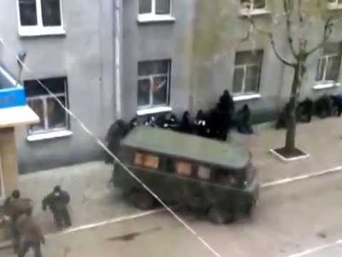 Russian Terrorists Attacked Police Station In Slaviansk - Ukraine 14.04.2014