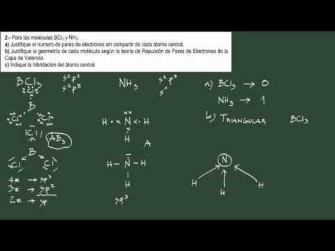 1. Ejercicio 1 enlace: pares sin enlazar. geometría de la molécula e hibridación.
