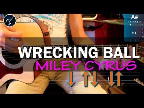 Como tocar Wrecking Ball - MILEY CYRUS - en guitarra PRINCIPIANTES  Acustica (HD) Tutorial