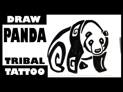 Drawing a Panda - Tribal Tattoo Design - Draw Tattoo Art
