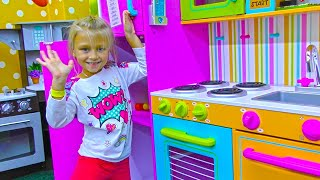 Yaroslava cooks and cleans in the toy kitchen | Family Kids Vlog Indoor Playground