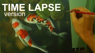 Time-lapse Version | Acrylic Painting | Koi fishes by JM Lisondra