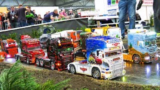 MANY, MANY RC MODEL SCALE TRUCKS DRIVE IN A BIG CONVOY!! * RC MB ACTROS, RC SCANIA