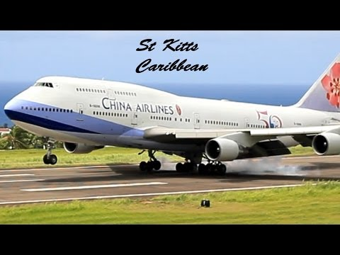 China Airlines 747-400 arrival @ St Kitts (President Ma Ying-jeou of Taiwan Arrival) HD 1080p !!!!!