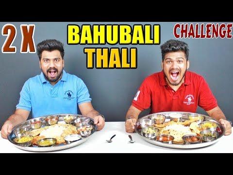 2 X BAHUBALI THALI CHALLENGE   BIGGEST VEG THALI EATING COMPETITION   Food Challenge India (Ep-75)