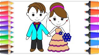 Little Bride and Groom Coloring Pages for Children Drawing Pages for kids | Learn colors