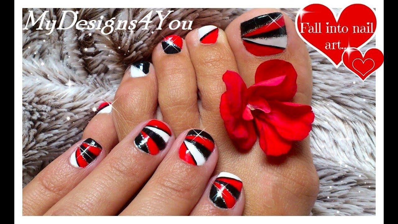 Toe Nail Art Red And Black: Red acrylic nail art designs ideas ...