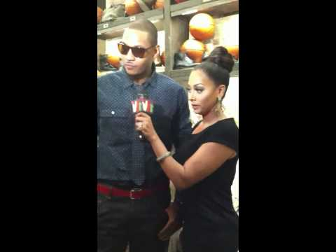 Carmelo Anthony & Lala Anthony Being Interviewed At Rag & B