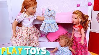 Mommy and Me Baby Dolls Petitcollin Dress up for School Day in the Dollhouse!