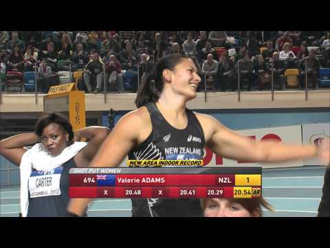 Valrie Adams NZL wins gold in shot put at Istanbul World Indoors 2012