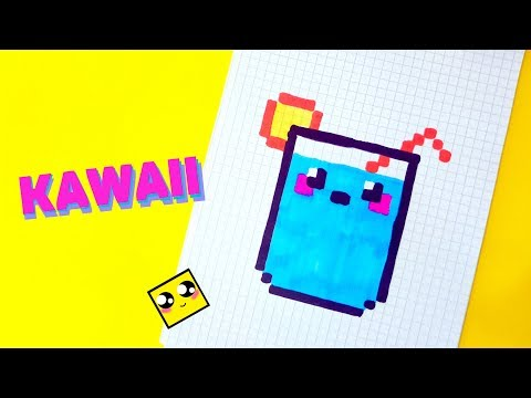 КАВАЙНЫЙ НАПИТОК (коктейль) рисуем по клеточкам (kawaii  cocktail)PIXEL ART