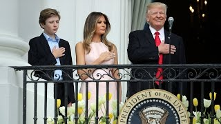 Melania Nudges President Trump to Put Hand on Heart for