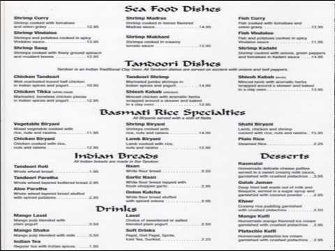 Indian Food Menus,List of Indian dishes