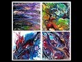 "Fluid acrylics pouring ,Arteza colors n 4"" x 4"" canvases #3401,2,3,4/9.14.18"