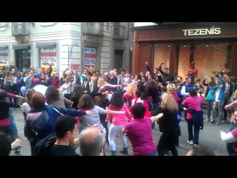 Zumba Flash Mob. Turin Italy, March 3, 2012