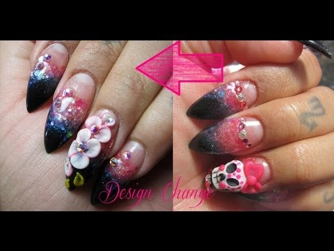 How to remove rhinestones & 3D art for Fill(Glitter Acrylic Nails)