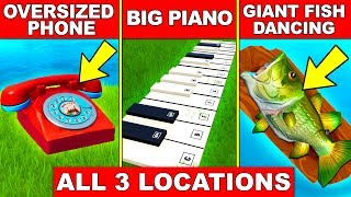 """""""VISIT AN OVERSIZED PHONE, A BIG PIANO AND A GIANT DANCING FISH TROPHY"""" ALL LOCATION FORTNITE WEEK 2"""